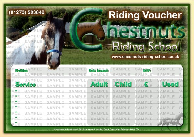 Horse Riding Voucher Sample: Chestnuts Riding School